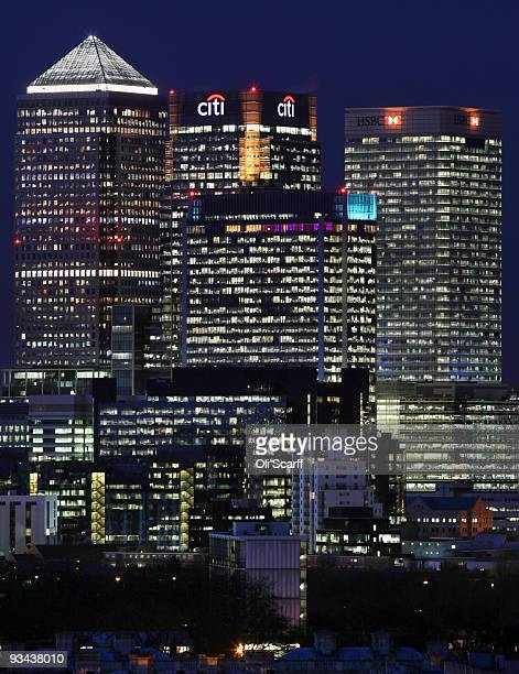 A general view of the skyscrapers in Canary Wharf on November 26 2009 in London England Former banker Sir David Walker has published his report...