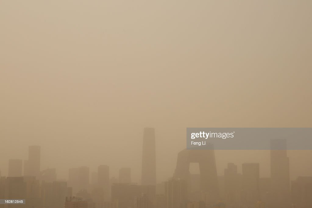 A general view of the skyscrapers in the sandstorm on February 28, 2013 in Beijing, China. Beijing was hit by its first sandstorm of the year while its air quality reached dangerous level on Thursday.