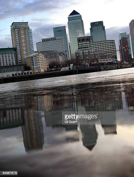 A general view of the skyscrapers of Canary Wharf on the Isle of Dogs seen across the river Thames on December 21 2009 in London England The FTSE 100...