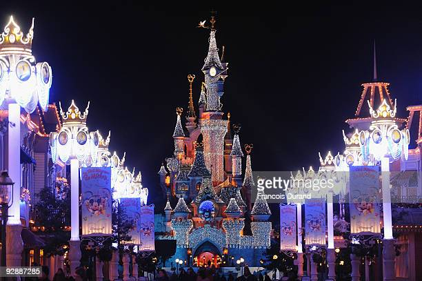 A general view of the Sleeping Beauty Castle during the Disneyland Magic Christmas Season Launch at Disneyland Resort Paris on November 7 2009 in...