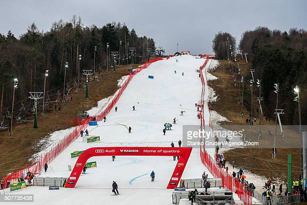 A general view of the slope as Atle Skardal FIS director has decided to cancel the race because of the bad weather conditions during the Audi FIS...