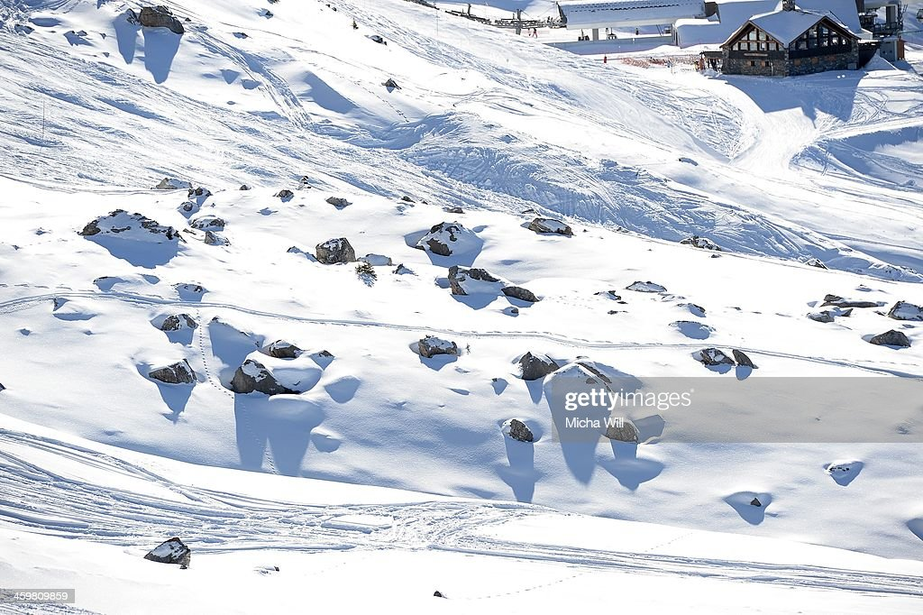 A general view of the slopes of Biche and Chamois on the Saulire Mountain (from a chairlift) where Michael Schumacher sustained his skiing accident on Sunday is seen on December 31, 2013 in Meribel, France. The seven time Formula 1 Champion's condition has improved slightly following an operation according to a press conference held at the Grenoble University Hospital Centre this morning, but he still remains in a critical state.