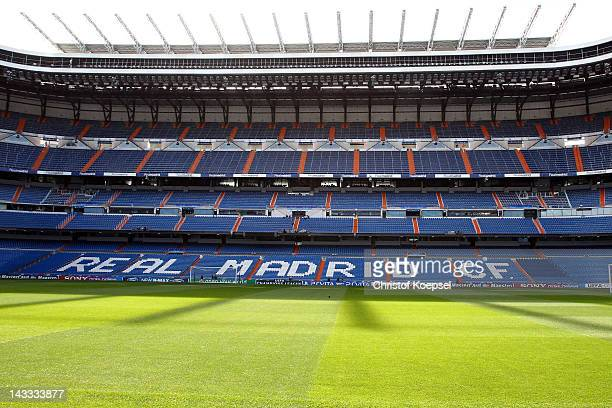 General view of the Snatiago Bernabeu Stadium during the FC Bayern Muenchen training session on the eve of their UEFA Champions League semifinal...