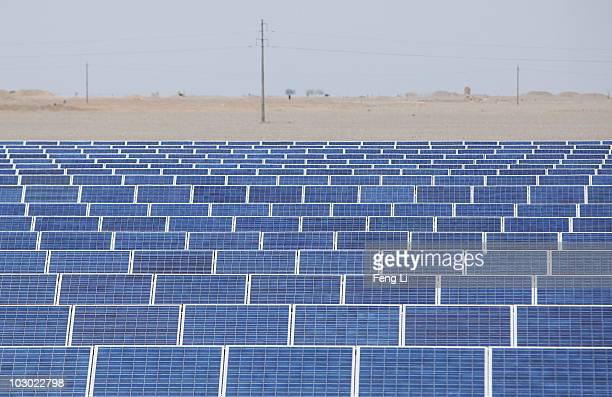 A general view of the solar modules of a newly installed 100MW photovoltaic ongrid power project on July 21 2010 in Dunhuang of China's northwest...