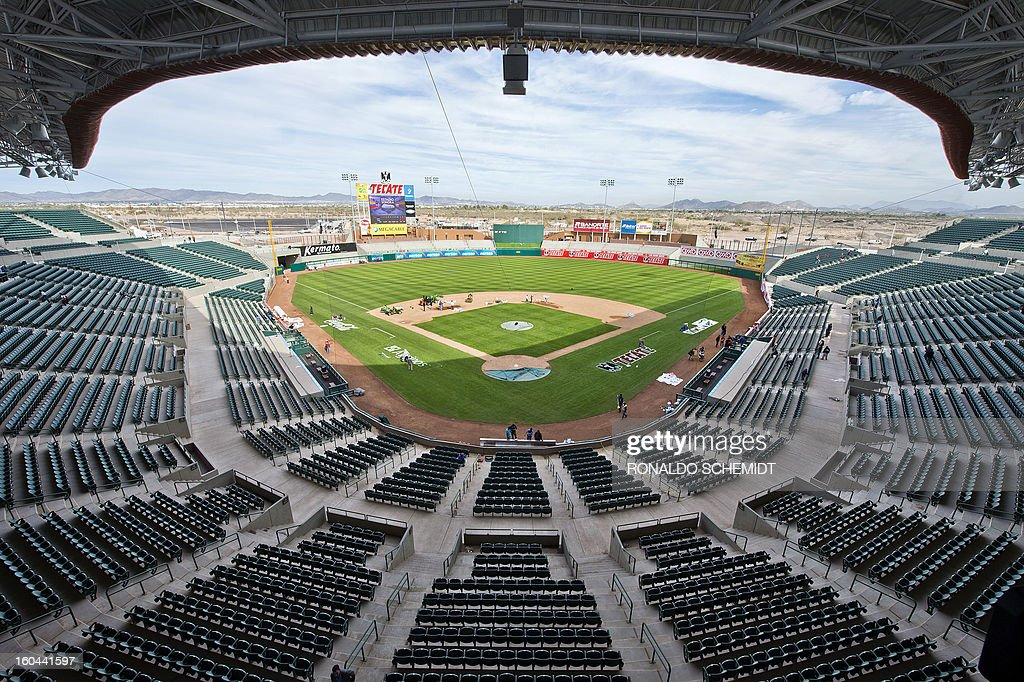 A general view of the Sonora stadium, in preparation for the Caribbean Baseball Series, that will take place from February 1 to 7, in Hermosillo, Sonora State, northern Mexico, on January 31, 2013. AFP PHOTO/Ronaldo SCHEMIDT