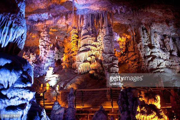 A general view of the Sorek stalactites cave as it is illuminated with a new lighting system on August 9 2012 near Beit Shemesh Israel The cave 82...