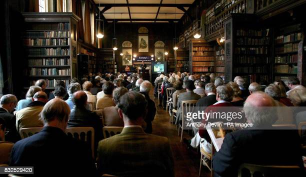 A general view of the Sotheby's auction being held in the library of the Chanter's House in Ottery St Mary Devon