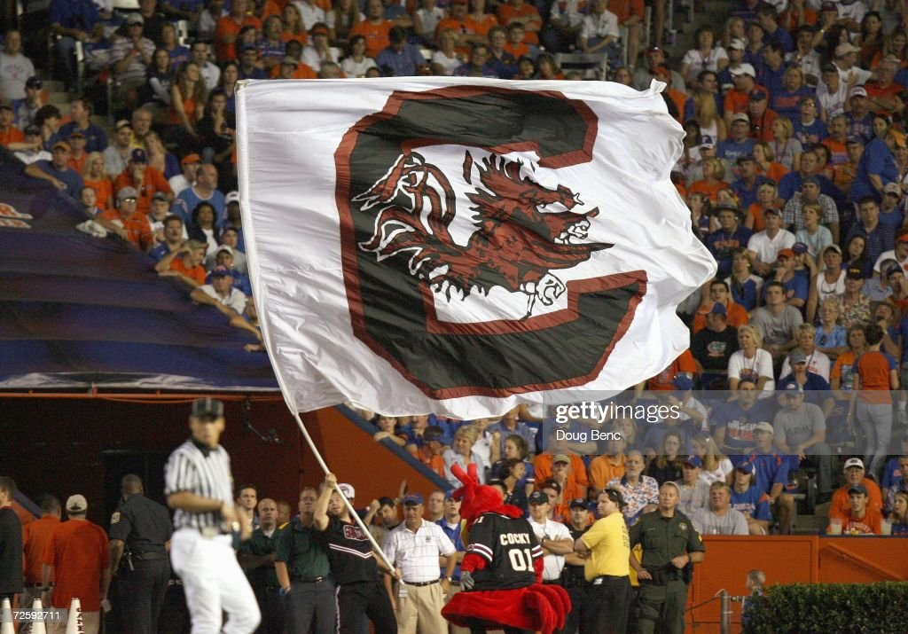 A general view of the South Carolina Gamecocks flag during the game against the University of Florida Gators at Ben Hill Griffin Stadium November 11...