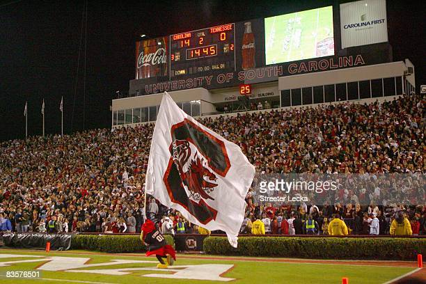 A general view of the South Carolina Gamecocks mascot running the flag on the field during the game against the Tennessee Volunteers at WilliamsBrice...
