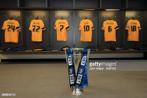 General view of the Southend United dressing room and the League Two playoff trophy