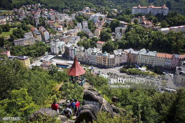 A general view of the spa town of Karlovy Vary on July 12 2014 in Karlovy Vary Czech Republic Karlovy Vary known for its mineralrich waters that cure...