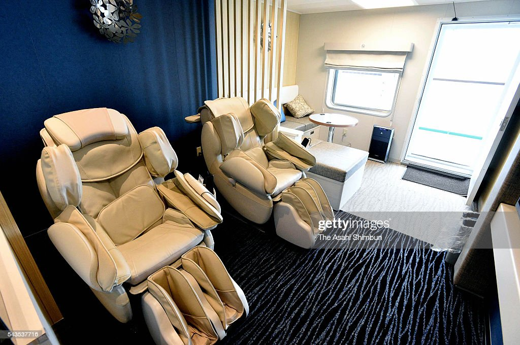 A general view of the special room of the new 'OgasawaraMaru' ferry during the press preview on June 29 2016 in Tokyo Japan The ferry connecting...