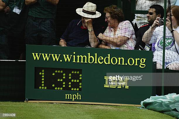 General view of the Speed gun taken during the final day of the Wimbledon Lawn Tennis Championships held on July 6 2003 at the All England Lawn...