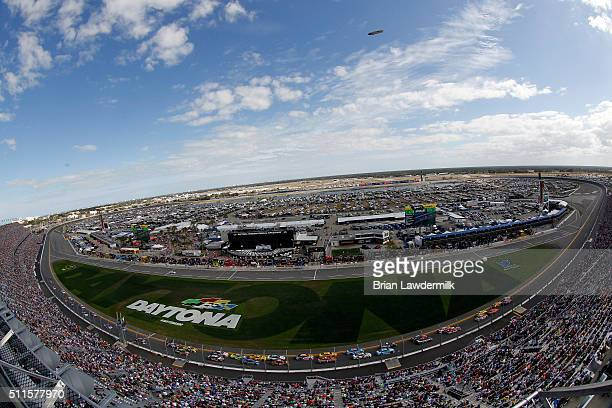 A general view of the speedway as cars race during the NASCAR Sprint Cup Series DAYTONA 500 at Daytona International Speedway on February 21 2016 in...