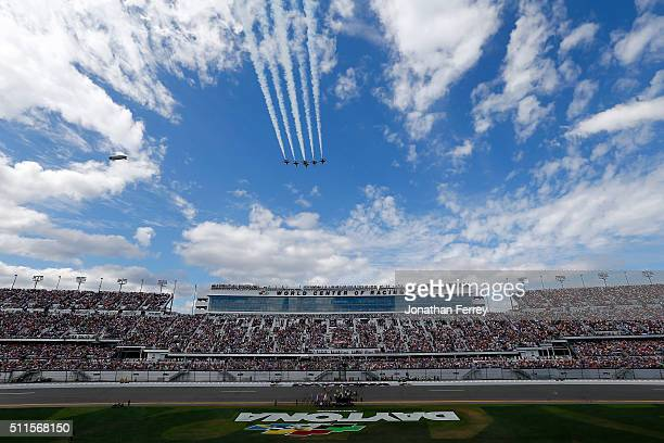 A general view of the speedway during the flyover prior to the NASCAR Sprint Cup Series DAYTONA 500 at Daytona International Speedway on February 21...