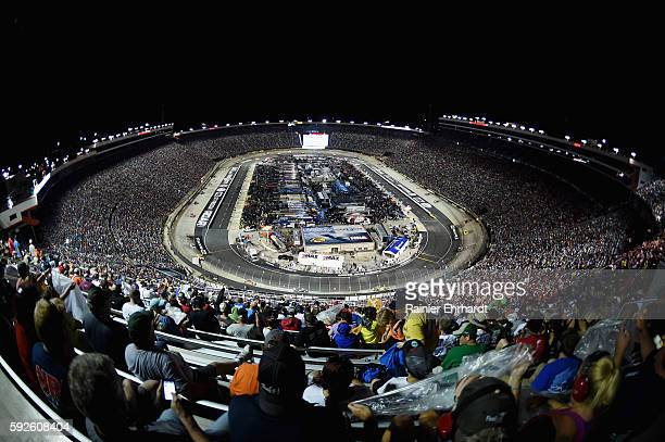 A general view of the speedway during the NASCAR Sprint Cup Series Bass Pro Shops NRA Night Race at Bristol Motor Speedway on August 20 2016 in...