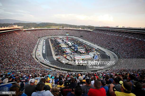 A general view of the speedway during the NASCAR Sprint Cup Series IRWIN Tools Night Race at Bristol Motor Speedway on August 22 2015 in Bristol...
