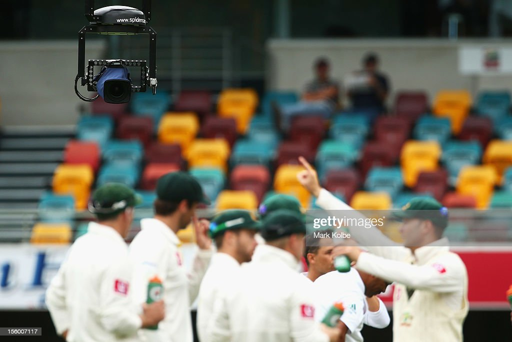A general view of the 'Spidercam' is seen during a drinks break during day three of the First Test match between Australia and South Africa at The...