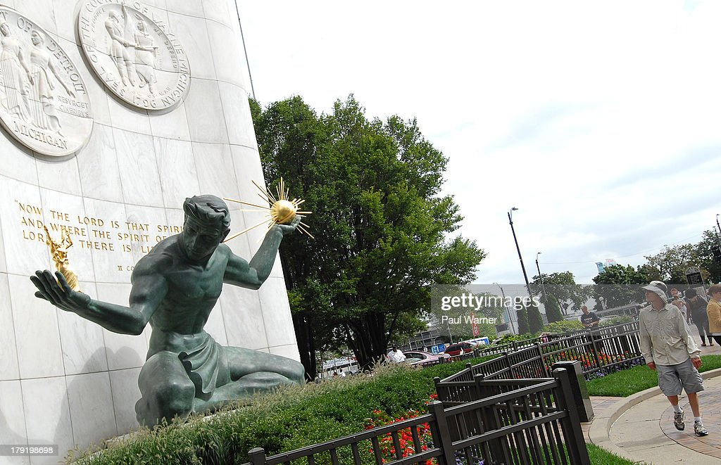 General view of the Spirit of Detroit statue during The Detroit Jazz Festival on August 31, 2013 in Detroit, Michigan.