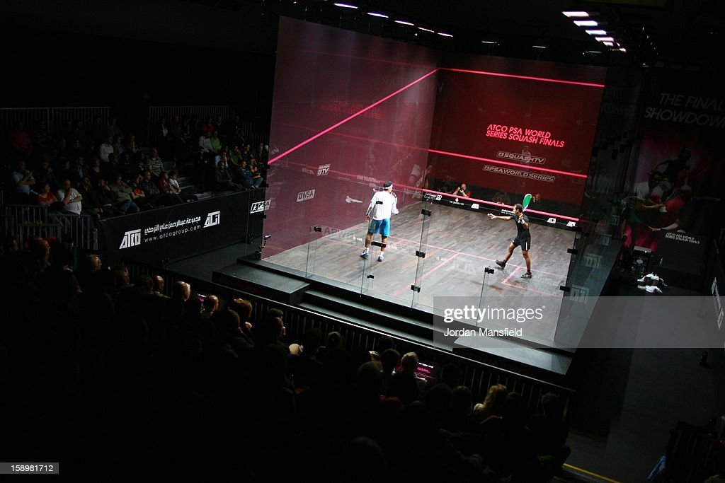 A general view of the squash court during Day 3 of the ATCO World Series Squash Finals played at Queens Club on January 4, 2013 in London, England.