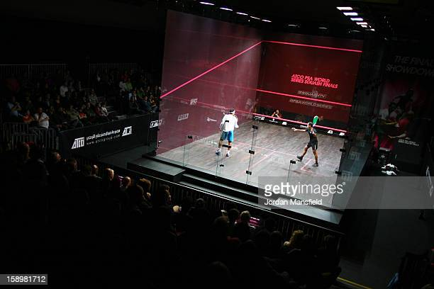 A general view of the squash court during Day 3 of the ATCO World Series Squash Finals played at Queens Club on January 4 2013 in London England
