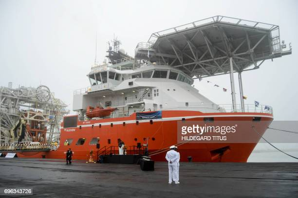 A general view of the SS Nujoma a vessel built out of partnership between mining giant De Beers and Namibian Government is seen during its official...