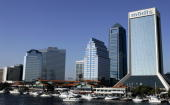 A general view of the St John's River and the skyline of downtown Jacksonville on February 4 2005 before Super Bowl XXXIX in Jacksonville Florida