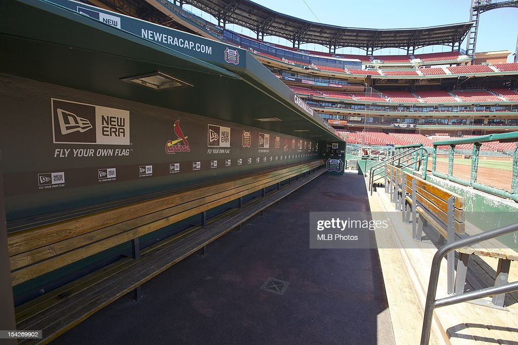 A general view of the St Louis Cardinals' dugout at Busch Stadium as seen on September 11 2012 in St Louis Missouri on September 11 2012