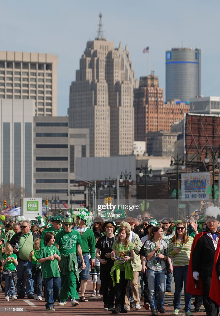 General view of the St. Patrick's Day Parade on the streets of Detroit on March 11, 2012 in Detroit, Michigan.