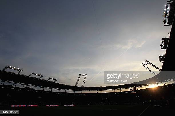 A general view of the Stade de Toulouse during the French Top 14 Semi Final match between Toulouse and Castres Olympique at Stade de Toulouse on June...