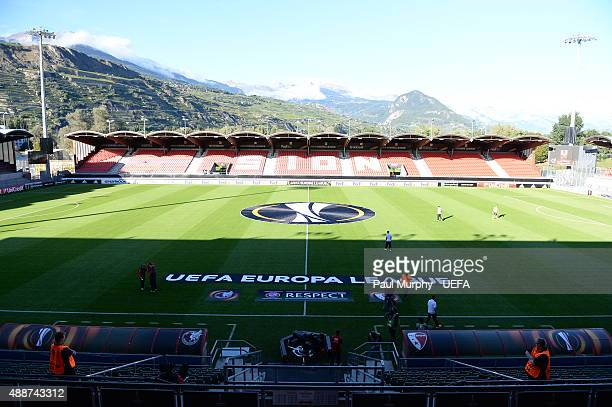 A general view of the Stade de Tourbillon ahead of the UEFA Europa League group B match between FC Sion and FC Rubin Kazan at the Stade de Tourbillon...