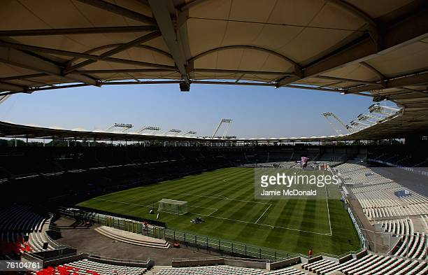 A general view of the Stade Municipal HauteGaronne prior to the Champions League first leg of the third qualifying round match between Toulouse and...