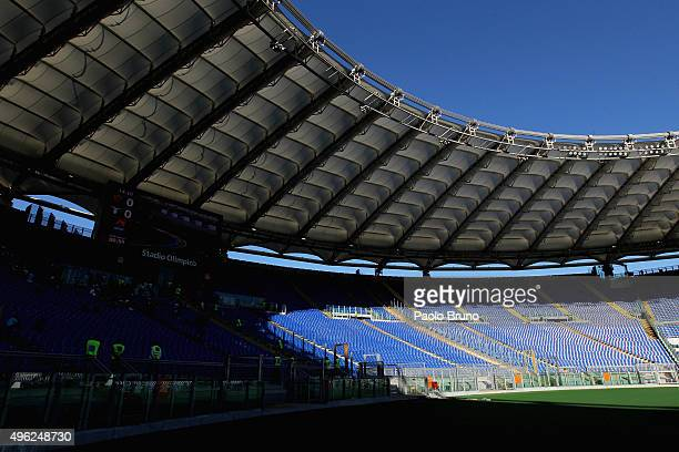 A general view of the Stadio Olimpico 'Curva Nord' empty before the Serie A match between AS Roma and SS Lazio at Stadio Olimpico on November 8 2015...