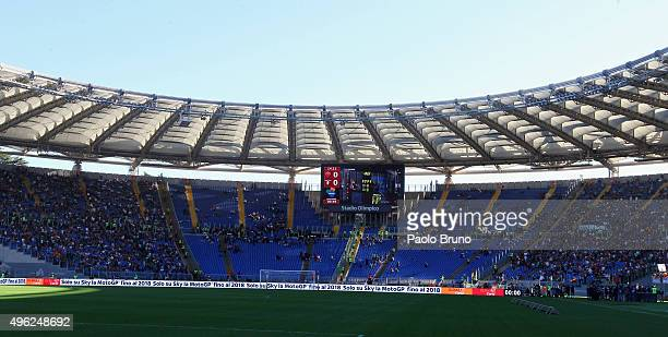 A general view of the Stadio Olimpico 'Curva Sud' before the Serie A match between AS Roma and SS Lazio at Stadio Olimpico on November 8 2015 in Rome...