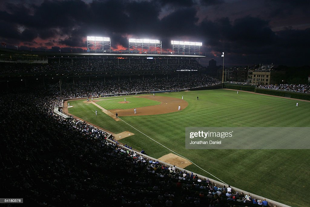 General view of the stadium after the sun set in the night sky during the game between the Los Angeles Dodgers and the Chicago Cubs on August 30, 2005 at Wrigley Field in Chicago, Illinois. The Cubs defeated the Dodgers 6-3.