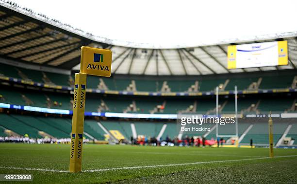 A general view of the stadium ahead of the Aviva Premiership match between Saracens and Worcester Warriors at Twickenham Stadium on November 28 2015...