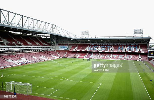 A general view of the stadium ahead of the Barclays Premier League match between West Ham United and Cardiff City at Boleyn Ground on August 17 2013...