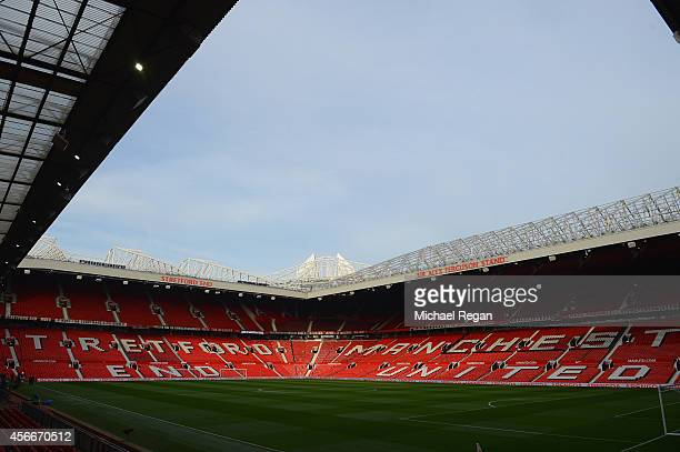 A general view of the stadium ahead of the Barclays Premier League match between Manchester United and Everton at Old Trafford on October 5 2014 in...