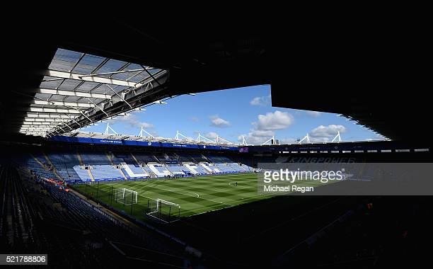 A general view of the stadium ahead of the Barclays Premier League match between Leicester City and West Ham United at The King Power Stadium on...