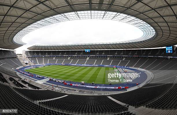 A general view of the stadium ahead of the Bundesliga match between Hertha BSC Berlin and Arminia Bielefeld at the Olympic stadium on August 23 2008...