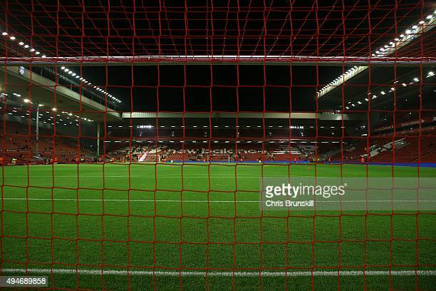 A general view of the stadium ahead of the Capital One Cup Fourth Round match between Liverpool and AFC Bournemouth at Anfield on October 28 2015 in...