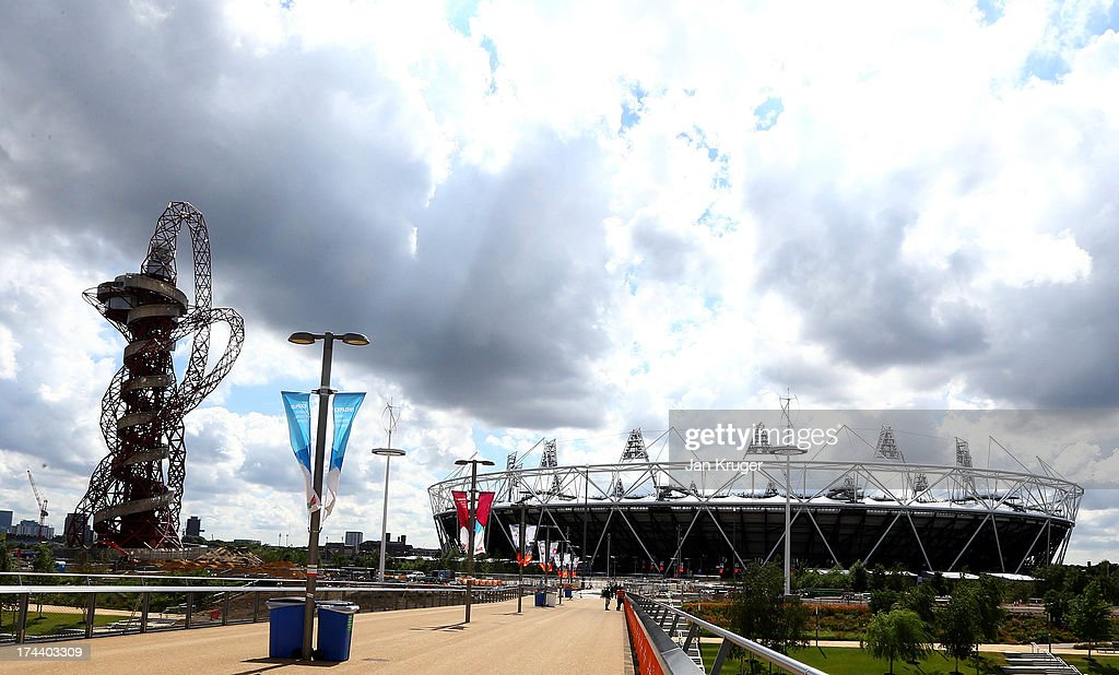 General view of the stadium ahead of the Sainsbury's Anniversary Games - IAAF Diamond League at The Olympic Stadium on July 25, 2013 in London, England.