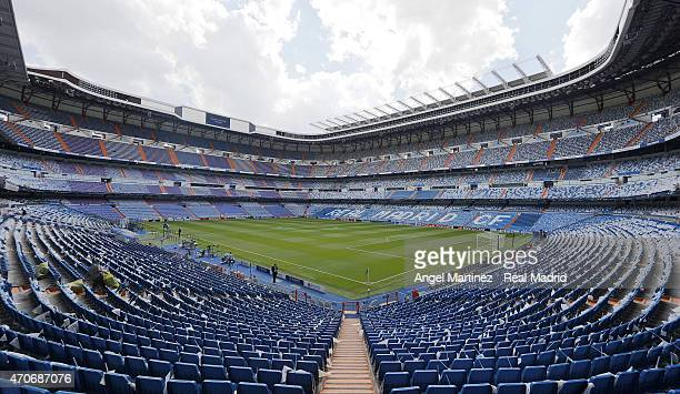 A general view of the stadium ahead of the UEFA Champions League Quarter Final second leg match between Real Madrid CF and Club Atletico de Madrid at...