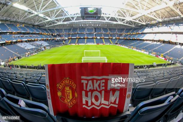 A general view of the stadium ahead of the UEFA Europa League Final between Ajax and Manchester United at Friends Arena on May 23 2017 in Stockholm...