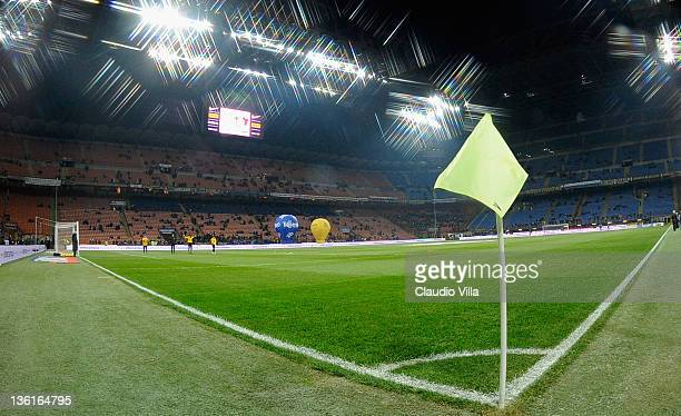 A general view of the stadium ahead the Serie A match between FC Internazionale Milano and US Lecce at Stadio Giuseppe Meazza on December 21 2011 in...