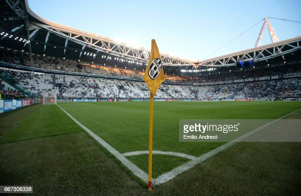 A general view of the stadium ahead the UEFA Champions League Quarter Final first leg match between Juventus and FC Barcelona at Juventus Stadium on...