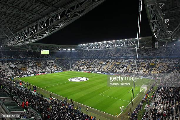 A general view of the stadium ahead the UEFA Champions League Round of 16 match between Juventus and Borussia Dortmund at Juventus Arena on February...