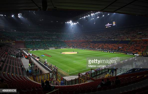 A general view of the stadium ahead the UEFA Europa League Round of 16 match between FC Internazionale Milano and VfL Wolfsburg at Stadio Giuseppe...
