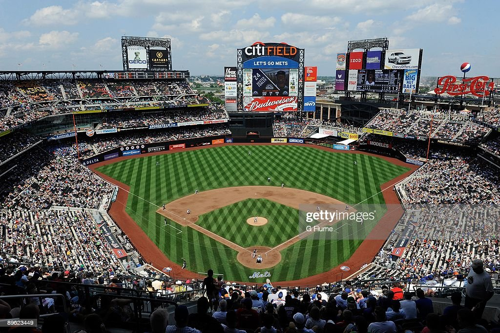 A general view of the stadium and field during play between the New York Mets and the Colorado Rockies at Citi Field on July 30 2009 in New York New...