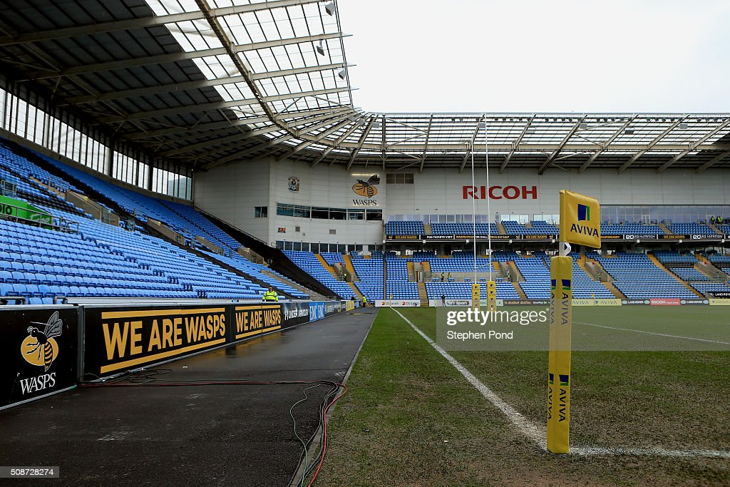 A general view of the stadium and pitch ahead of the Aviva Premiership match between Wasps and Newcastle Falcons at the Ricoh Arena on February 6, 2016 in Coventry, England.